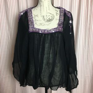 Free People Boho Gauzy Black, Purple Sequined Top